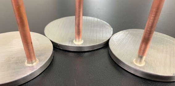 Brazing a copper tube and steel plate with induction heating